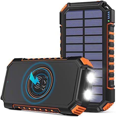 Wireless Solar Charger 26800mAh Riapow Portable Charger with 4 Outputs LED Flashlight External product image