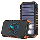 Wireless Solar Charger 26800mAh, Riapow Portable Charger with 4 Outputs & LED...