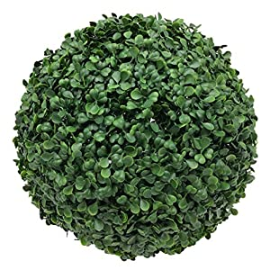 Boxwood Topiary Ball 12 Inch Green Artificial Plant Real Look Home Decor Indoor/Outdoor for Porch Patio or Wedding Round Bush Shrub, Modern Fresh with Hanging Chain