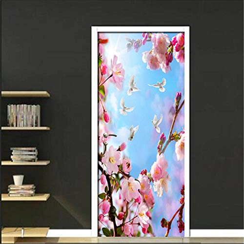 Bdhnmx zelfklevende 3D deur muurschilderingen Schil en Stick Decor Stickers Roze Perzik Boomtak Patroon Woonkamer PVC Waterdichte s Behang Verwijderbare Art Poster 30.3X78.7 (77X200Cm)