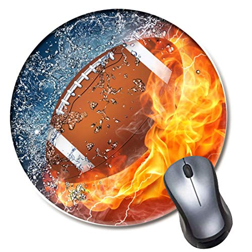 Yaxazepluy - Football Fire Water Mouse Pad, Gaming Round Mousepad for Computer Laptop Non-Slip Rubber Desk Mat,Cute Office Gift(8 Inch)