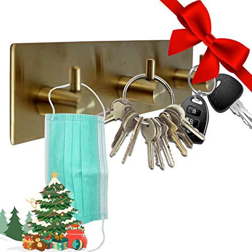Key Holder for Wall Decorative ~ Key Organizer for Wall with 3 Key Hooks ~ Coat Hanger, Purse...