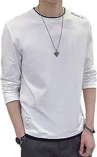 Aroniko Tシャツ メンズ カットソー メンズ ロンT 長袖 カジュアル 無地 ファッション 丸襟 快適 大きいサイズ 4カラー