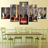5 paneles Cuadro 5 Set lienzo pintura en aerosol impresiones instrumentos de guitarra arte de pared clásico decoración de habitación de bebé póster para el hogar