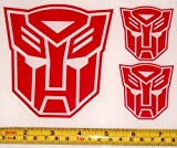 Transformers - Autobot Set of 3 HQ Single Color Red Vinyl Sticker Decals