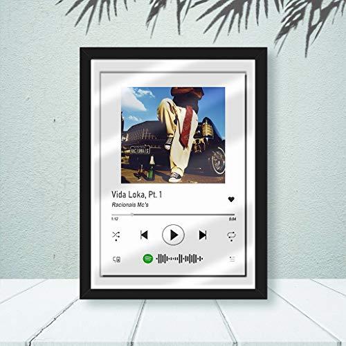 Quadro Spotify Racionais -Vida Loka C/Vidro 33x25 Quarto Cor:Preto
