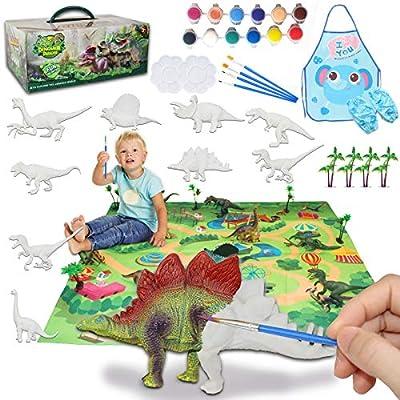 Amazon - 50% Off on Kids Crafts and Arts Set, Dinosaur Painting Kit, 9 pcs Simulated Dinosaur Models