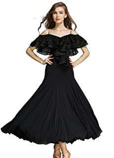 Women French Classic Luxury Big Lotus Leaf Swing Ice Silk Latin Dance Costume Flamenco Ballroom Waltz Salsa Dance Dresses