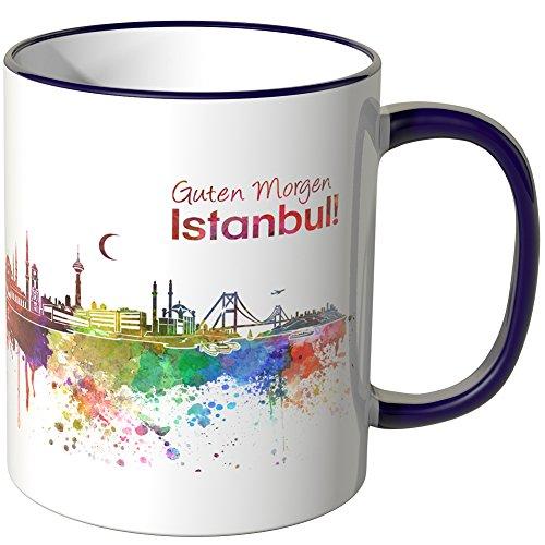 WANDKINGS Tasse, Schriftzug Guten Morgen Istanbul! mit Skyline - LILA