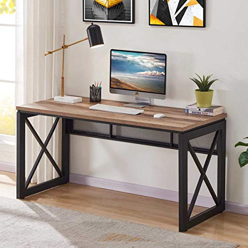 BON AUGURE Industrial Office Computer Desk Wood and Metal Writing Gaming Desk Workstation Desk for Home Office 60 Inch Rustic Oak