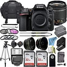 Nikon D7500 Digital SLR Camera, DX-Format, 20.9 Megapixel w/ 18-55mm Lens + 2 Pcs Sandisk 32GB Memory Card + Digital Flash + Camera Bag + Filter Kit + Accessory Bundle (Black)