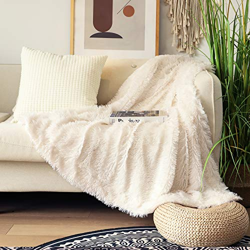 """Decorative Extra Soft Fuzzy Faux Fur Throw Blanket 50"""" x 60"""",Solid Reversible Lightweight Long Hair Shaggy Blanket,Fluffy Cozy Plush Comfy Microfiber Fleece Blankets for Couch Sofa Bedroom,Cream White"""
