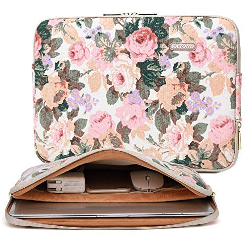 KAYOND White Camellia Water-resistant 12.5 13 inch Canvas laptop sleeve with pocket for 13.3 inch laptop case macbook air 13 macbook pro 13 sleeve ipad 12.9 Case Bag (13-13.3 Inch, White Camellia)
