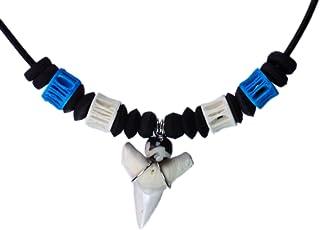 Exoticdream Real Shark Tooth Necklace Surfer Hawaiian Beach Boys Girls Men - ฺBlue