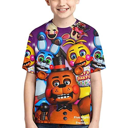 Maichenxuan Five Nights at Freddy's Kids T-Shirt, 3D Impreso FNAF Niños Niñas Manga Corta, Juventud Verano Novedad Tops Camisetas