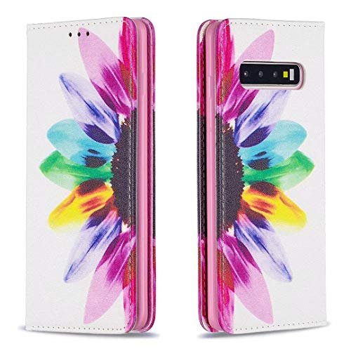 Miagon Coque Portefeuille pour Samsung Galaxy S10 Plus,Étui à Rabat en Cuir Fine Folios Bourse Case Protection Housse Clapet avec Carte Fentes,Tournesol