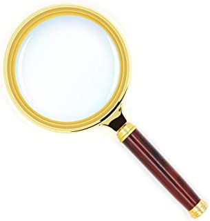 Orgrimmar10X Handheld Magnifier Antique Mahogany Handle Magnifier Magnifying Glass for Science, Reading Book, Inspection