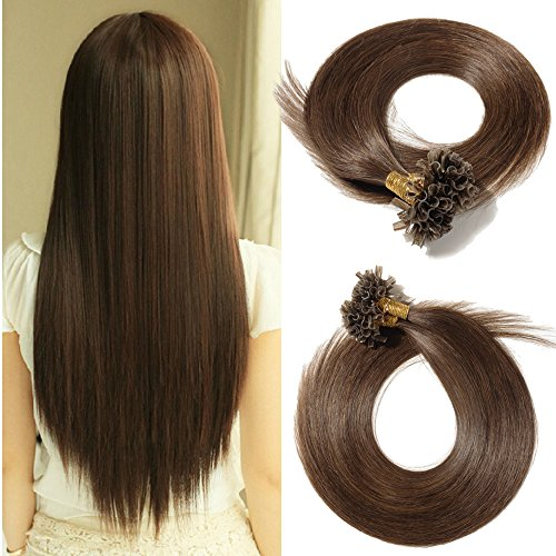 Benehair U Tip Human Hair Extensions for Women Highlighted Medium Brown Straight Remy Hair Extension Keratin Fusion Pre bonded Stick Nail Tips 100 Strands 50g 18 inch #4