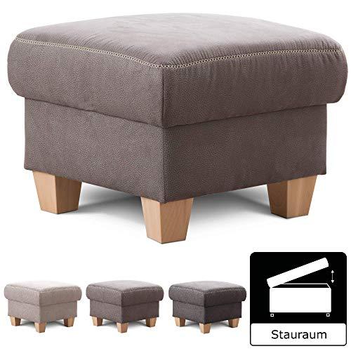 Cavadore Hocker Wisconsin / Sofa-Hocker, Sitzhocker, bzw. Fußbank mit Stauraum im Landhausstil / Holzfüße in Buche / Mikrofaser / Größe: 58 x 45 x 58 cm (BxHxT) / Farbe: Grau