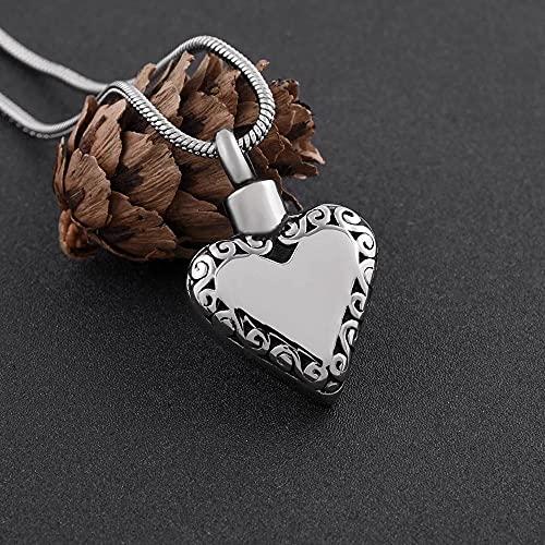 KBFDWEC Urna de corazón Vintage para Mujer, urna de Grabado Gratis para Mascotas/Cenizas humanas, Colgante, Collar, joyería Conmemorativa