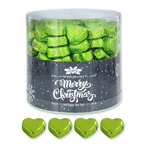 Günthart 150 Stück grün Schokoladen Herzen mit Nougatfüllung   Nougatcreme Granit   Schokoladenherzen grün Merry Christmas   Give away   grüne Herzen aus Schokolade   Weihnachten (1,2 kg)
