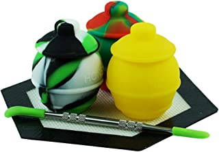 3 Silicone Honey Pots Wax Hexagon Mat Pad Non Stick Large Storage Container by X-Value