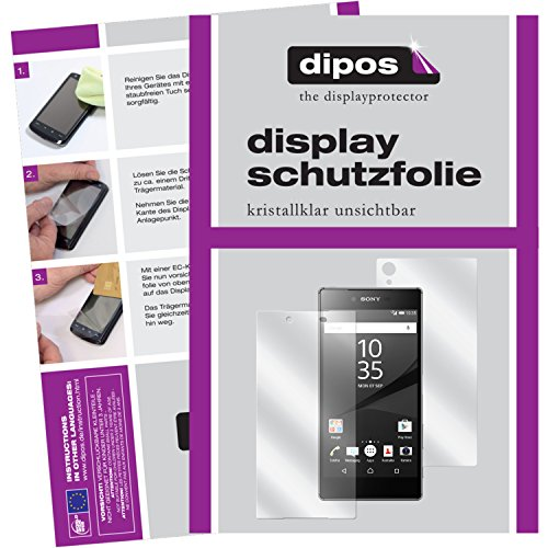 dipos I 6X Schutzfolie klar kompatibel mit Sony Xperia Z5 Premium Folie Bildschirmschutzfolie (3X Vorder- und 3X Rückseite)
