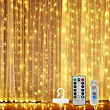 300 Led Window Curtain String Lights with Remote Control, USB Powered 8 Twinkle Modes Hanging Fairy Curtain Lights for Bedroom,Weddings, Party, Christmas Decorations,Warm White