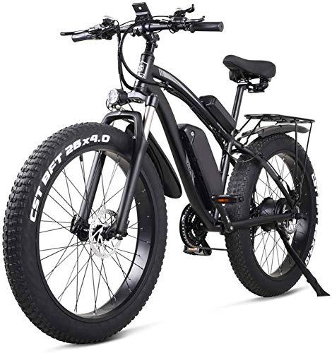 ZJZ Bicicleta eléctrica de 26 Pulgadas Bicicleta eléctrica de montaña 21 velocidades 48v Batería de Litio 4.0 Off-Road 1000w Asiento Trasero Bicicleta eléctrica de montaña para Adultos, Azul