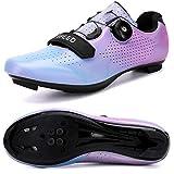 Hombres Bicicleta De Carretera Zapatos De Ciclismo Premium Microtex Zapatos Con Cleat Hombres SPD Zapatos Negro Blanco Hombres Ciclismo Spinning Zapatos, color Azul, talla 41 1/3 EU