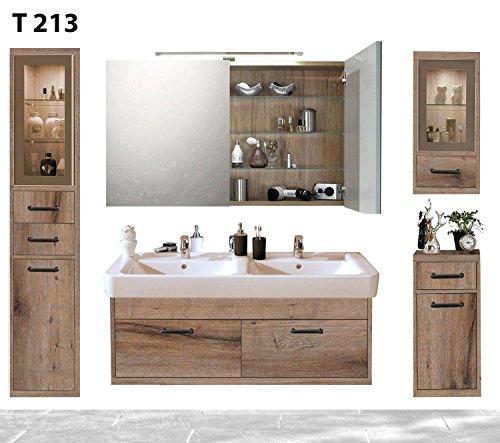 regalwelt Bad Serie timbery T213lavabo, Armadietto a Specchio, Alto, Superiore e Inferiore congelatore