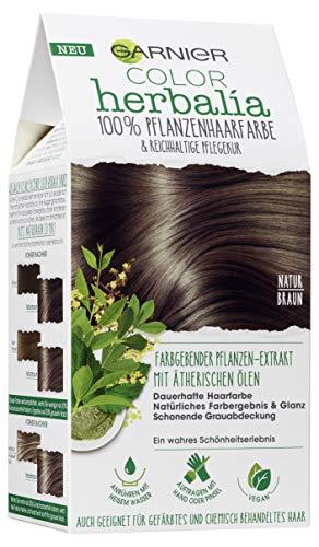 Garnier Color Herbalia Naturbraun, Pflanzenhaarfarbe mit Henna, Indigo und ätherischen Ölen, vegane Haarfarbe (3 Stück)
