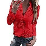 ReooLy Chemise boutonnée à Manches Longues, Femmes V Neck Lettres Bouton d'impression à Manches Longues T-Shirt Tops Chemisier