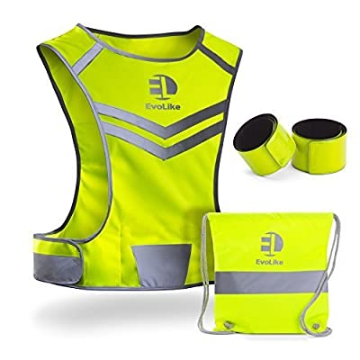 EvoLike Reflective Vest of Unique Design for Running Walking Cycling Jogging Motorcycle with Pocket + 4 High Visibility Wristbands + Bag (Fluorescent Yellow, Size L/XL)