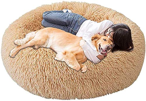 DHGTEP Cotton Pet Bed for Largein Medium Dogs, Upgrade Fluffy Dog Sofa Orthopedic Anxiety Relief Kennel Winter Heating Warm Dog Cushion Washable Bed for Indoor (Color : Khaki, Size : 80CM/31.4inch)