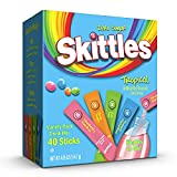 Skittles Singles To Go Tropical Flavors Variety Pack, 40 Count, Powdered Drink Mix, Zero Sugar, Low Calorie, Includes 4 Flavors: Strawberry Starfruit, Mango Tangelo, Kiwi Lime, Pineapple Passionfruit, 40 Total Servings