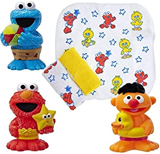 Sesame Street Bath Squirters and Washcloths Bundle Includes Elmo Cookie Monster and Ernie Water Toys