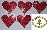 2Packungen = 10Stoff Pailletten 40mm Herzen zum