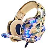 VersionTECH. Stereo Gaming Headset for PS5, PS4 Xbox One Controller, Noise Reduction Over Ear Headphones with Mic, Bass Surround & LED Lights for Laptop PC Mac Computer Nintendo Switch Games - Camo