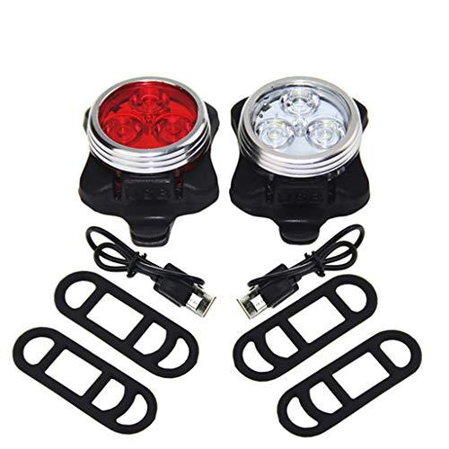 Gugavivid LED Fahrradbeleuchtung USB Wiederaufladbares Fahrradlicht Set LED Fahrradlicht 650mah 4 Light Mode Wasserdicht Taschenlampe Geeignet für Fahrrad, Joggen, Klettern