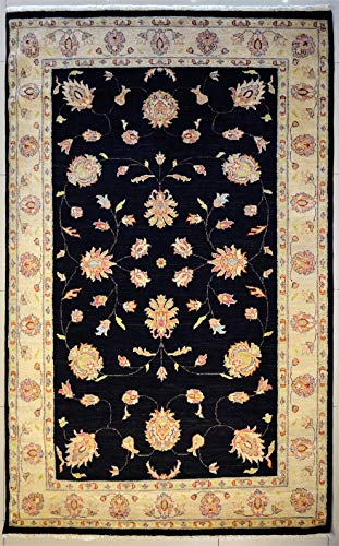 ETNICO 5'11 X 9'0 ZIEGLER Chobi Alfombra hecha con tintes vegetales – 180 cm x 274 cm, diseño simétrico negro