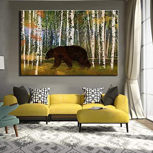 Zangtang Dierenprint van het moderne schilderij Abstract op zeildoek en liefdevol plakaatwand kunstschilderij voor de frameloze vormgeving van de woonkamer