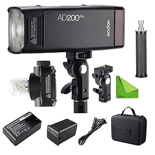 Godox AD200 Pro AD200Pro 200 WS 2.4 G Flash Strobe, 1/8000 HSS, 500 Full Power Flashes, 0.01-2.1s Reciclaje, 2900 mAh batería, Bare Bulb/Speedlite Fresnel Flash Head