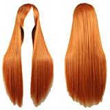 Zinsale 32' larga recta Cosplay pelucas Natural resistente al calor sintético Lolita Anime postizo (Naranja)