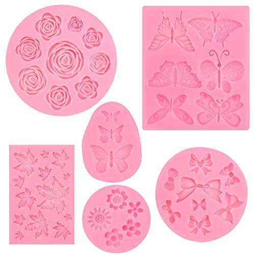6 piezas Moldes de fondant de pastel, moldes de silicona 3D para flores de rosas, mariposas, moldes para hornear dulces y chocolate para hacer decoración de tartas, jabón, gelatina