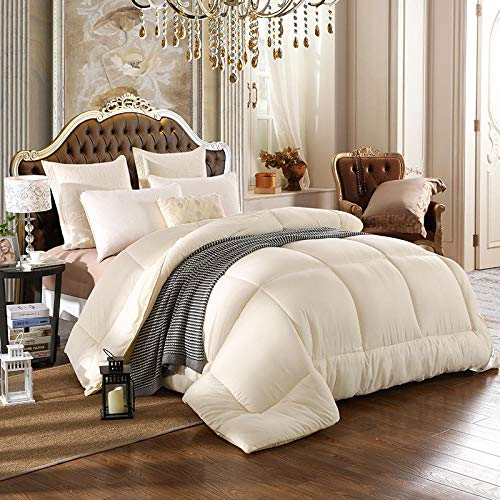 N / A Duvet Double Bed,Warm quilt winter bed comforter duvet blanket-creamy-white_180x220cm 6 kg