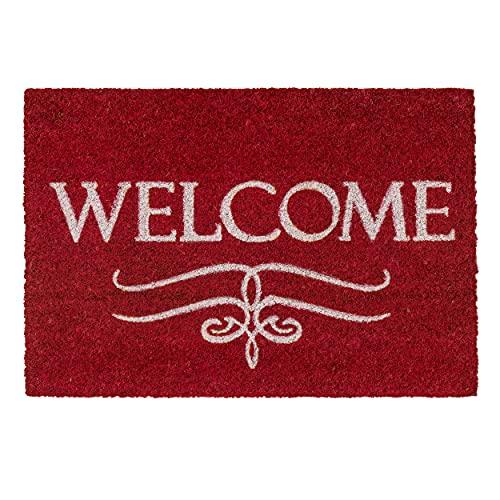 Fußmatte Kokos Welcome rot – Türmatte 40x60 cm – antibakterielle Eingangsmatte – Kokosmatte mit Vinylrücken – natürliches Material – 100% Kokos