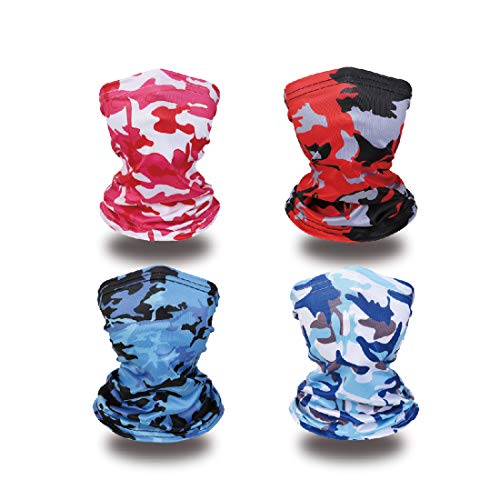 Kid Face Covering Children Neck Gaiter Summer Balaclava Face Bandana Gaiter Kids Neck Gaiters 4pcs-3