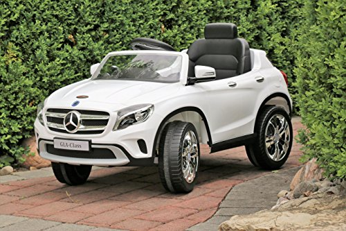 First Drive Mercedes Benz GLA White 12v Kids Cars - Dual Motor Electric Power Ride On Car with Remote, MP3, Aux Cord, Led Headlights, and Premium Wheels