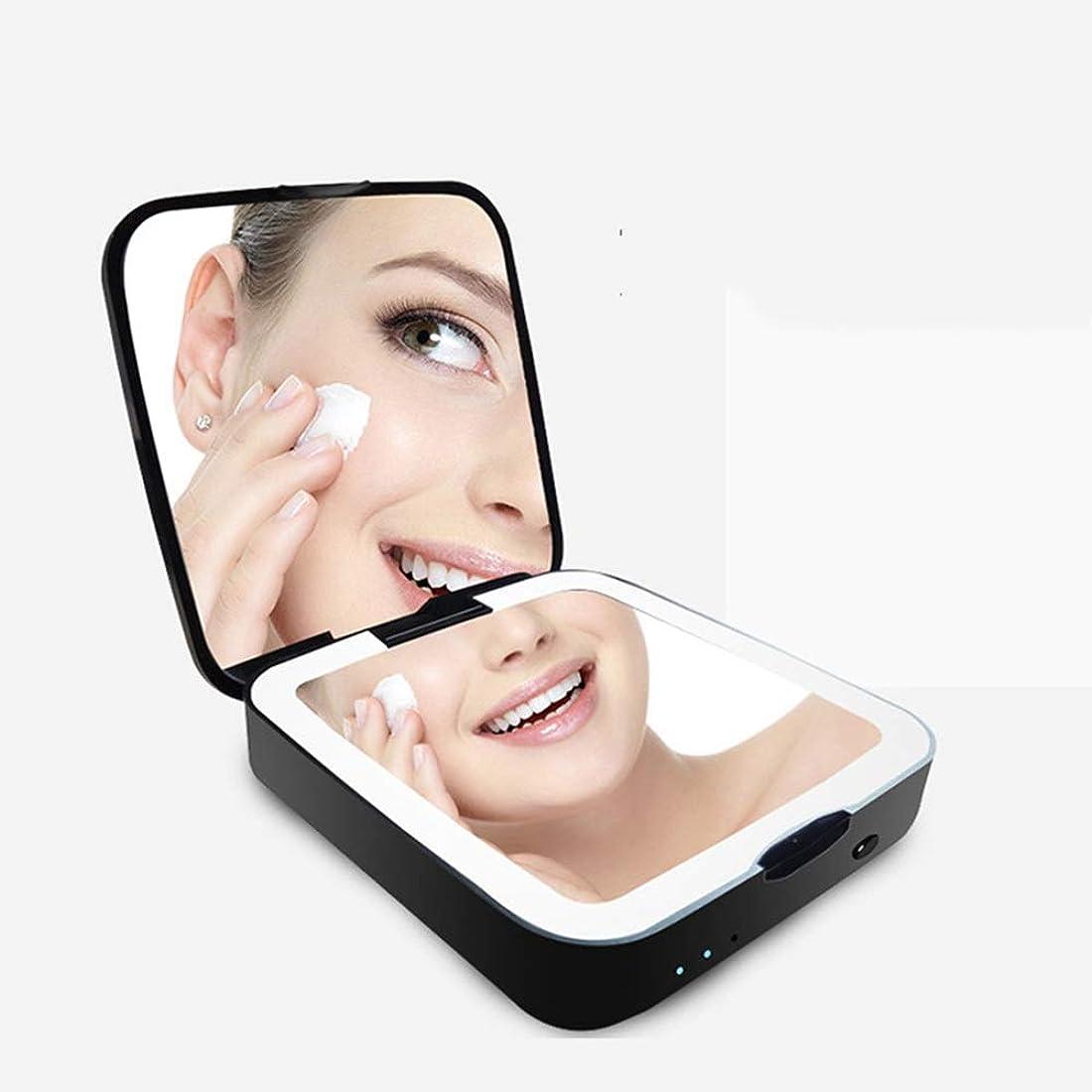 家畜検出側溝流行の 新しい両面折りたたみLEDライトポータブルポータブルミラー充電宝化粧鏡ABS黒美容ミラー虫眼鏡ナイトライト